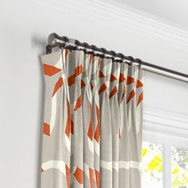 Orange Red Ribbon Pleated Curtains Close Up