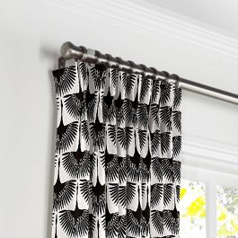 Flocked Black & White Bird Pleated Curtains Close Up