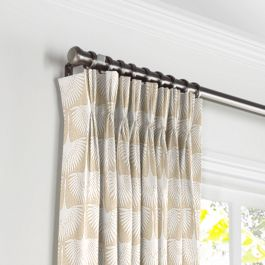 Natural & White Bird Pleated Curtains Close Up