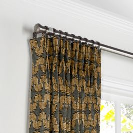 Gray & Metallic Copper Fan Pleated Curtains Close Up