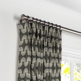 Dark Gray & White Fan Pleated Curtains Close Up