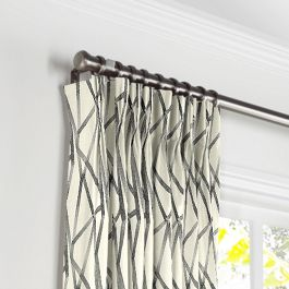 Black & White Abstract Stripes Pleated Curtains Close Up