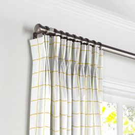 Lemon Yellow Check Pleated Curtains Close Up