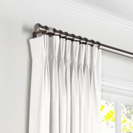 Warm White Gauzy Linen Pleated Curtains Close Up