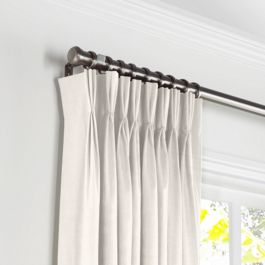 Ivory Gauzy Linen Pleated Curtains Close Up