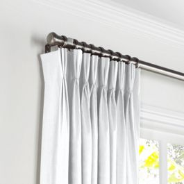 Traditional White Linen Pleated Curtains Close Up