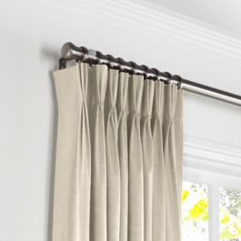 Beige Linen Pleated Curtains Close Up