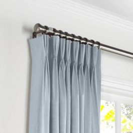 Blue-Gray Linen Pleated Curtains Close Up