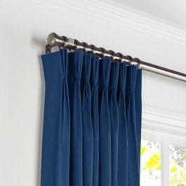 Dark Navy Blue Linen Pleated Curtains Close Up
