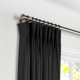 Carbon Black Linen Pleated Curtains Close Up