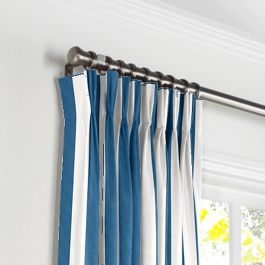Royal Blue Awning Stripe Pleated Curtains Close Up