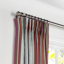 Purple Multicolor Striped Pleated Curtains Close Up