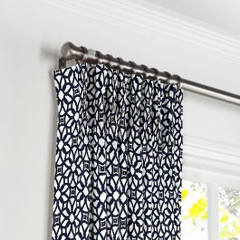 Navy Blue Floral Lattice Pleated Curtains Close Up