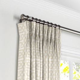 Light Tan Trellis Pleated Curtains Close Up