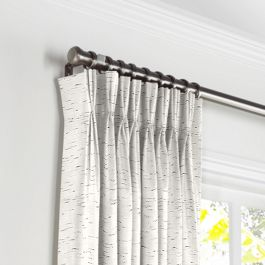 White & Gray Marled Pleated Curtains Close Up