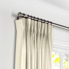 Ivory Sunbrella® Canvas Pleated Curtains Close Up