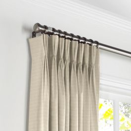 Tan Sunbrella® Canvas Pleated Curtains Close Up