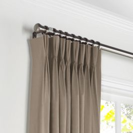 Taupe Sunbrella® Canvas Pleated Curtains Close Up