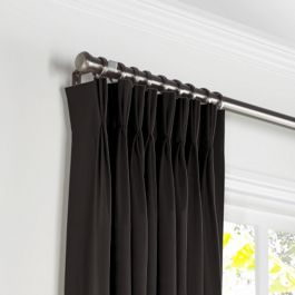 Black Sunbrella® Canvas Pleated Curtains Close Up