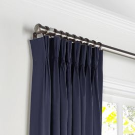 Navy Blue Sunbrella® Canvas Pleated Curtains Close Up