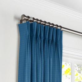 Royal Blue Sunbrella® Canvas Pleated Curtains Close Up