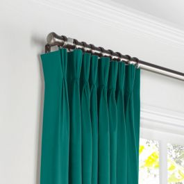 Teal Sunbrella® Canvas Pleated Curtains Close Up