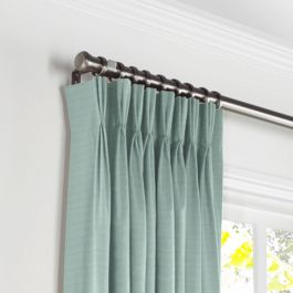 Seafoam Sunbrella® Canvas Pleated Curtains Close Up
