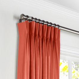 Tomato Red Sunbrella® Canvas Pleated Curtains Close Up