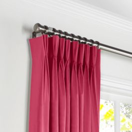 Hot Pink Sunbrella® Canvas Pleated Curtains Close Up