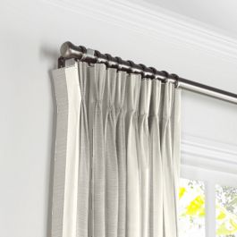 Gray Awning Stripe Pleated Curtains Close Up