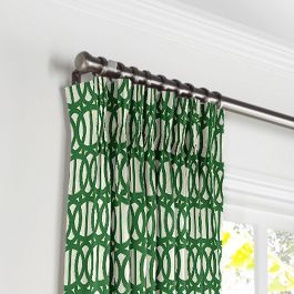 Emerald Green Trellis Pleated Curtains Close Up