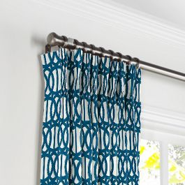 Bright Blue Trellis Pleated Curtains Close Up