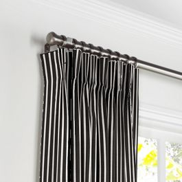 Black & White Thin Stripe  Pleated Curtains Close Up