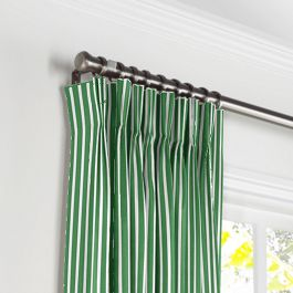 Emerald Green Thin Stripe Pleated Curtains Close Up