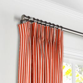 Flame Red Thin Stripe Pleated Curtains Close Up
