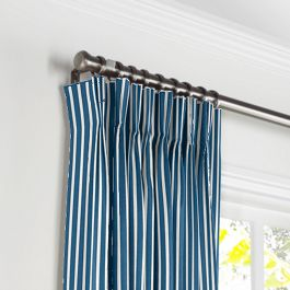 Bright Blue Thin Stripe Pleated Curtains Close Up