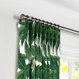 Green Banana Leaf Pleated Curtains Close Up