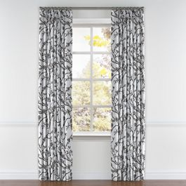 Gray Floral & Bird Pleated Curtains Close Up