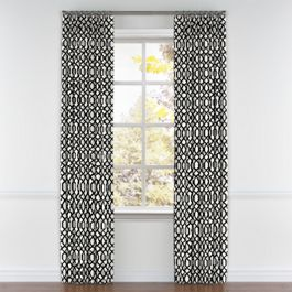 Black & White Trellis Pleated Curtains Close Up