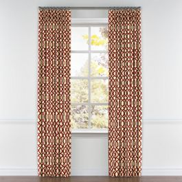 Flocked Tan & Red Trellis Pleated Curtains Close Up