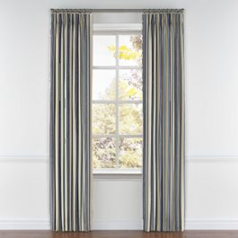 Gray, Teal & Blue Stripe Pleated Curtains Close Up