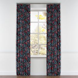 Red & Navy Blue Suzani Pleated Curtains Close Up