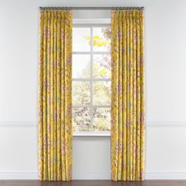 Delicate Yellow Floral Pleated Curtains Close Up