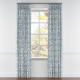 Turquoise Trellis Scroll Pleated Curtains Close Up