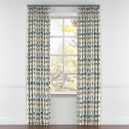 Tan & Blue Flame Stitch Pleated Curtains Close Up