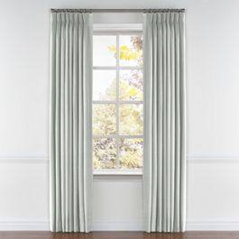 Pale Gray Slubby Linen Pleated Curtains Close Up