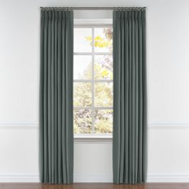 Charcoal Slubby Linen Pleated Curtains Close Up