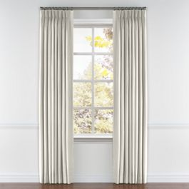 Cream Slubby Linen Pleated Curtains Close Up