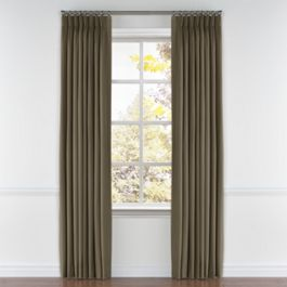 Dark Brown Slubby Linen Pleated Curtains Close Up