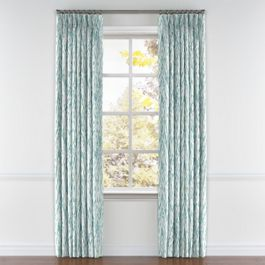 Aqua Blue Watercolor Pleated Curtains Close Up